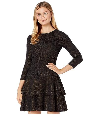 MICHAEL Michael Kors Shimmer Double Tier Dress (Black/Gold) Women