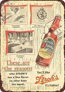 Custom Kraze 1957 Stroh's Bohemian Beer Vintage Reproduction Metal Sign 8 x 12