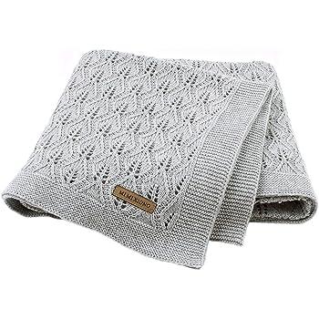 mimixiong 100% Baumwolle Babydecke/Kuscheldecke/Strickdecke,100 cm x 80 cm(Grau)