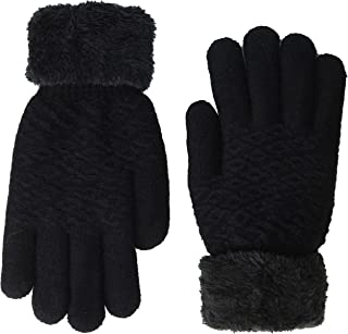 Plush-Lined Gloves with Faux Fur Cuffs -