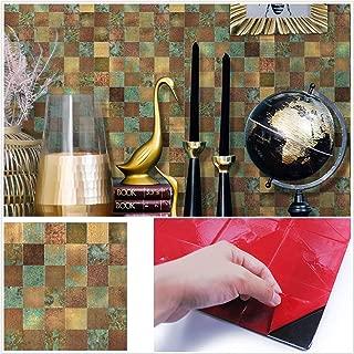 HomeyMosaic Peel and Stick Tile Backsplash for Kitchen Wall Decor Aluminum Surface Metal Mosaic Tiles Sticker,Square Plaid Imitation Rust Classical Retro Bronze,12