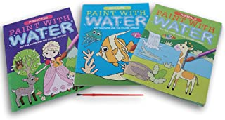 Greenbrier International Paint with Water Book Set with Paint Brush - Animals, Princess, and Sea Life Themes