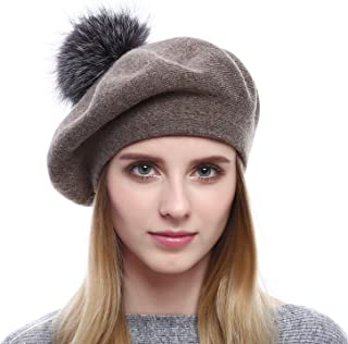 Women Wool Beret - Real Silver Fox Fur Pom Pom Beanies Winter Knit Cashmere Hats