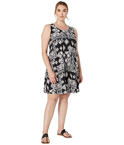 Karen Kane Plus Plus Size Geo Print Chloe Dress (Black/Off-White) Women