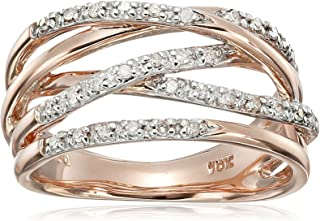 10k Rose Gold Woven Diamond Ring (1/7 cttw, I-J Color, I2-I3 Clarity)