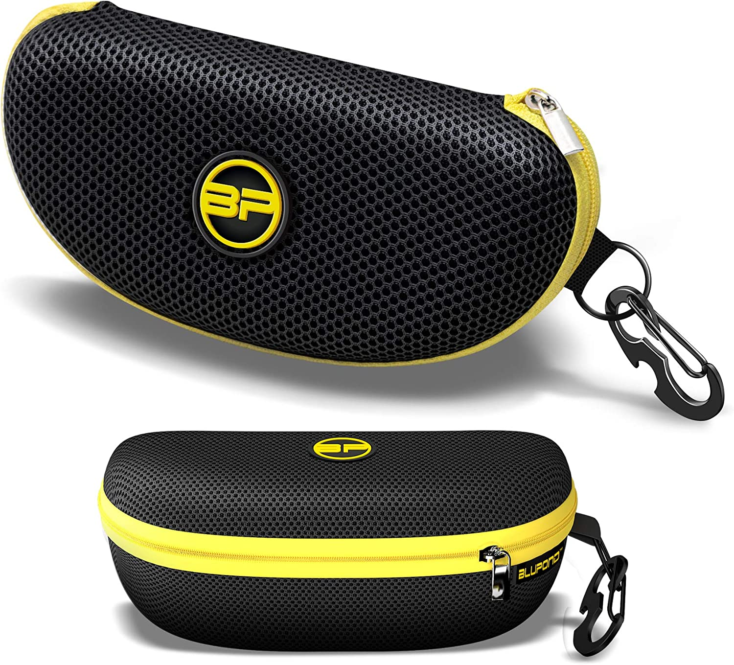 BLUPOND Semi Hard EVA Large Glasses Case with Metal Carabiner 5 IN 1 Set for Sports Sunglasses