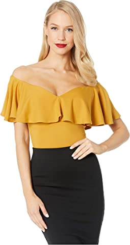 507fef05744eb 19. Unique Vintage. 1950s Off the Shoulder Ruffle Frenchie Knit Top