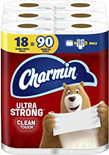 Charmin Ultra Strong Clean Touch Toilet Paper, 18 Family Mega Rolls = 90 Regular Rolls