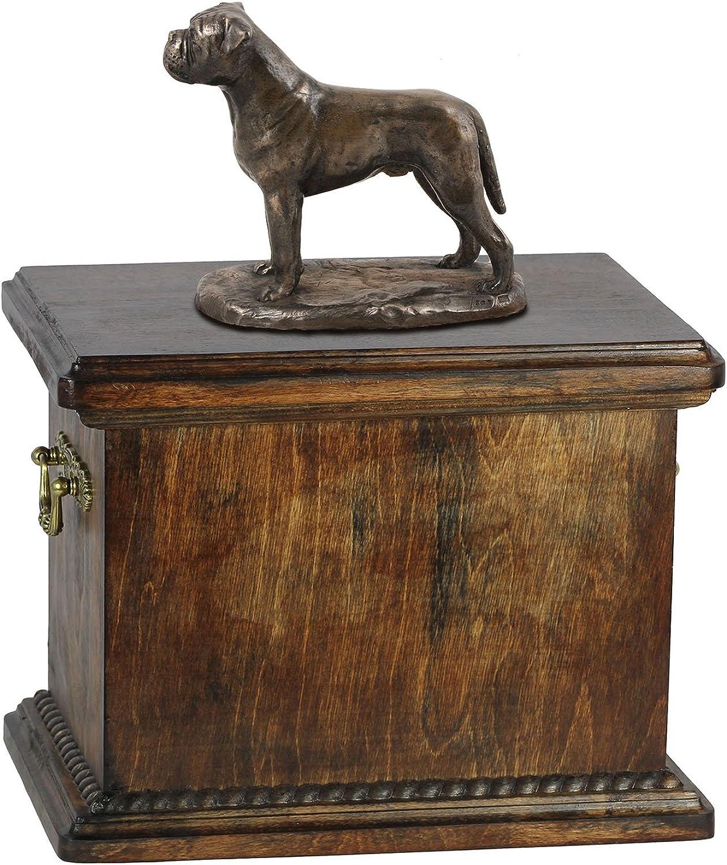 Bullmastiff, memorial, urn for dog's ashes, with dog statue, ArtDog