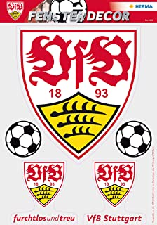 HERMA 1990etiqueta ventana imágenes sin pegamento, Fútbol Bundesliga Escudo del VfB Stuttgart, diseño logo con 2Pelotas ...