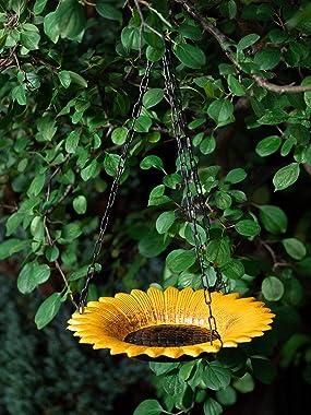 Hanging Bird Bath for Outdoors | Bird Bath with Sunflower Design