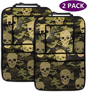 Haosufu Automotive SeatBack Organizers,Car Seat Back Storage Pockets Kick,Touch Screen Tablet Holder,2 Pack Protectors,Travel Accessories for Kid Toddlers Camouflage Skull