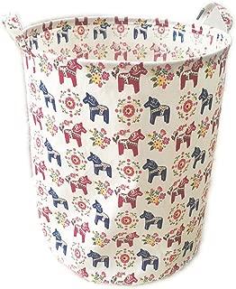 ECOHIP Large Toy Storage Bin Dala Horse Fabric Cubes Kids Laundry Basket Nursery Hamper