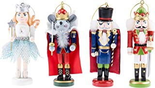 Clever Creations Tchaikovsky Nutcrackers Ornament Set - Mouse King, Herr Drosselmeyer, Sugar Plum Fairy and Red Prince - Traditional Wooden Christmas Decor - Solid Wood Construction - 5 inches Tall
