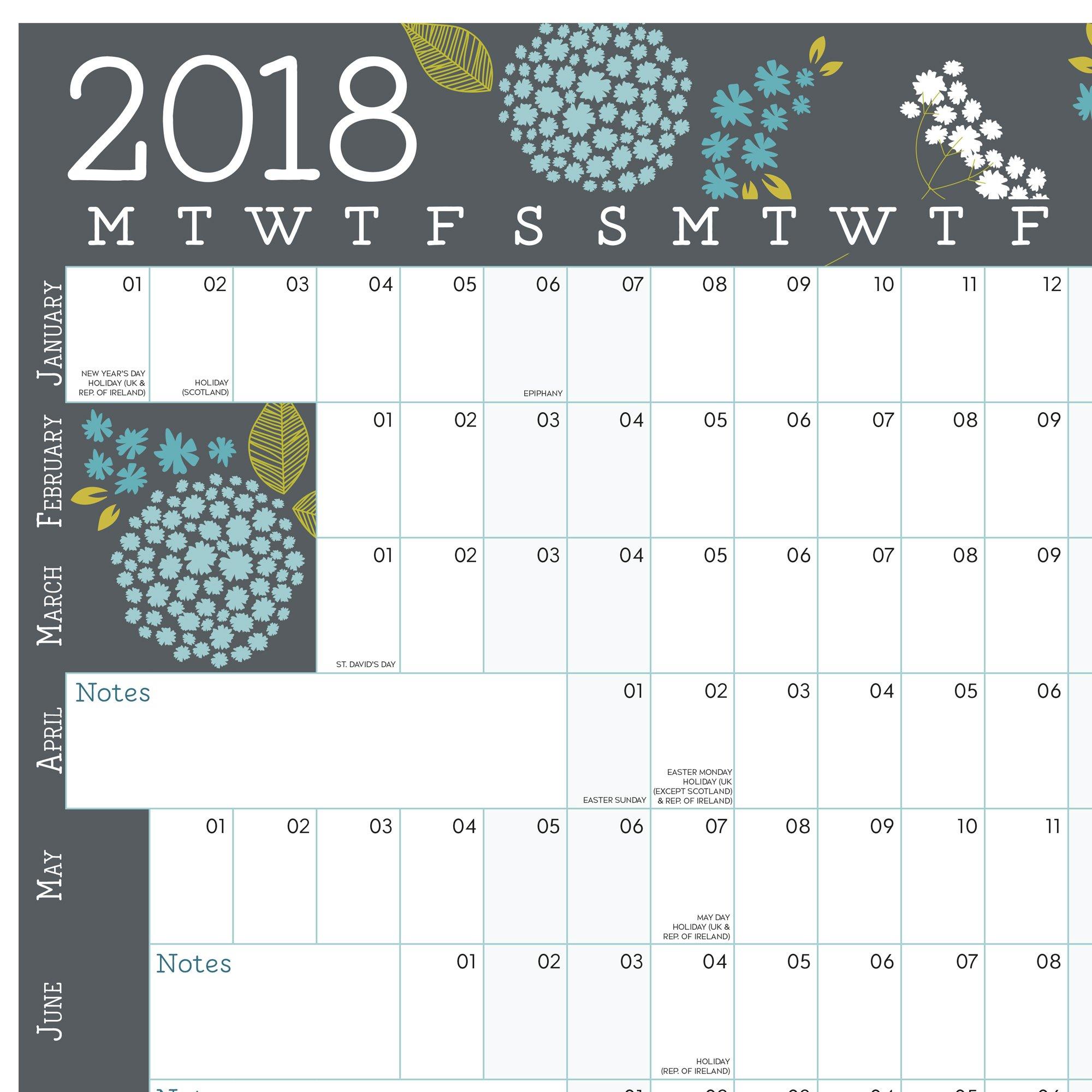 Calendario de pared 2018. 12 meses. Ideal para la oficina o el hogar. Empieza en enero 2018 y se extiende hasta diciembre 2018. Tiene un acabado laminado o no laminado. EN INGLES (