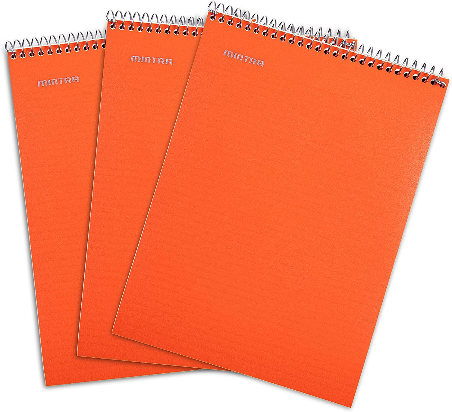 Mintra Office Top Bound Durable Spiral Notebooks - (Orange, College Ruled) 3 Pack - xStrong Back, Left-Handed, 100 Sheets, Moisture Resistant Cover, School, Office, Business, Professional