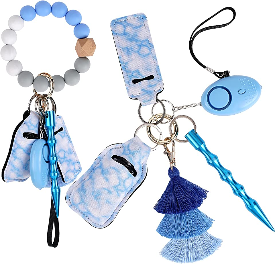 Safety Keychain Set,Keychain Bracelet for Women,cute keychain,Personal Alarm with LED Light, Chapstick Holder,Mothers Day Gifts
