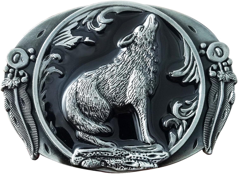 QUKE Vintage Western Cowboy 3D Wild Very popular Leaf Buckl Belt Howling High quality new Wolf