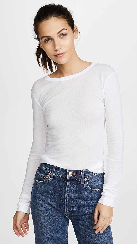 Enza Costa Women's Supima Cotton Tissue Jersey Long Sleeve Top