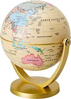 World Globe - 4-inch Globe of The World with Stand, Spinning Rotating Globe for Kids, Geography Teachers, Parents as Home, Office Desktop Decoration, Educational Tool, Yellow and Gold, 5 inches Tall
