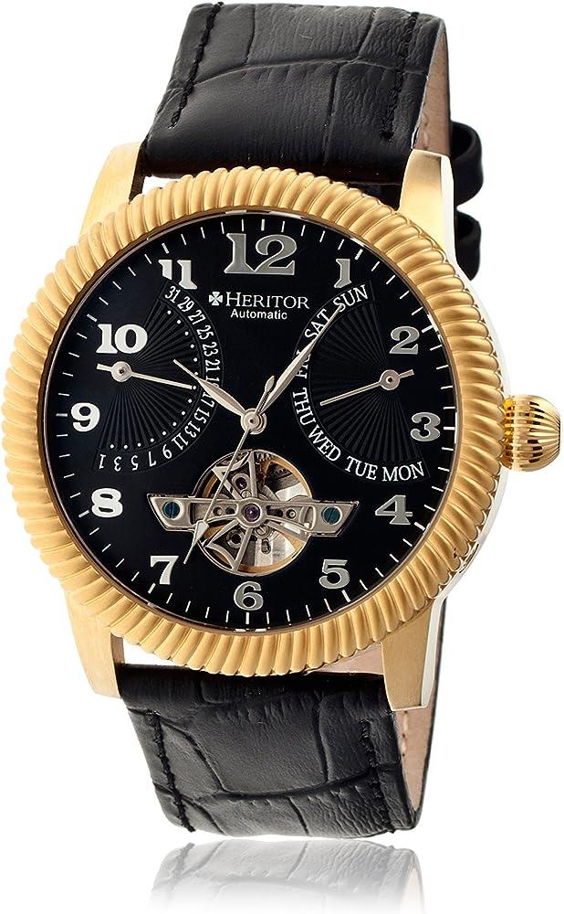Heritor automatic,orologio,cronografo per uomo,in acciaio inossidabile l 316,cinturino in coccodrillo HERHR2004