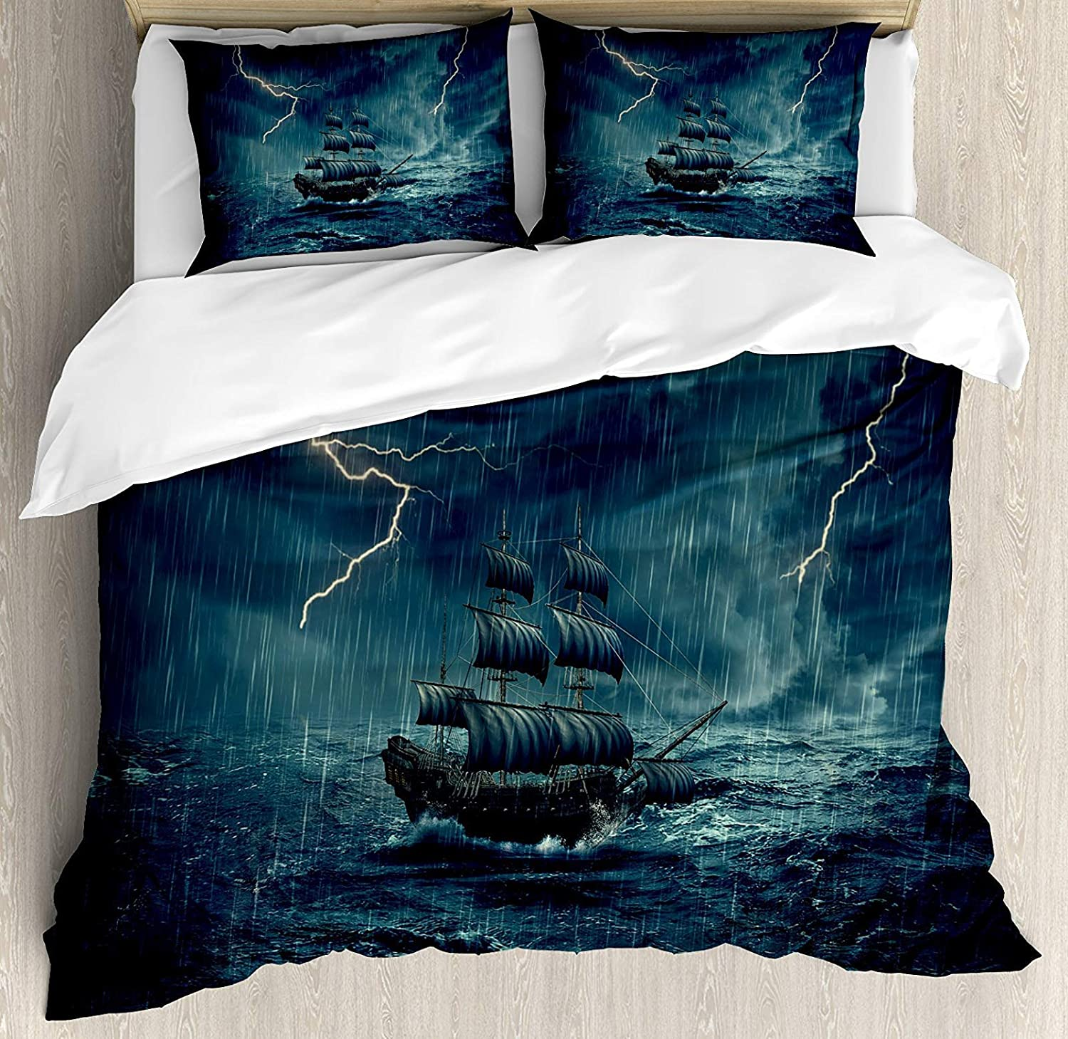 Landscape 4 Pcs Bedding Set Full Size, Stormy Rainy Weather Waves Pirate Vintage Ship Sailing Oil Paint All Season Duvet Cover Bed Set, White and Dark Cadet bluee