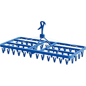 東和産業 洗濯物ハンガー ブルー 約40×35×85cm BCウルトラジャンボ角ハンガーピンチ54個付