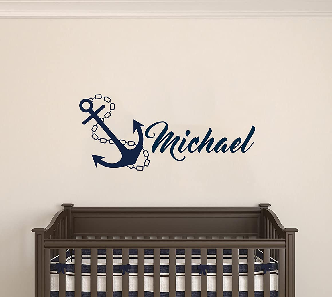 Custom Name Anchor Nautical Series - Baby Boy/Girl Wall Decal Nursery For Home Bedroom Children (MM48) (Wide 32