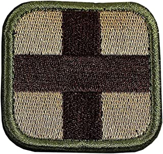 Embroidered Medic Cross Tactical Patch (Khaki)