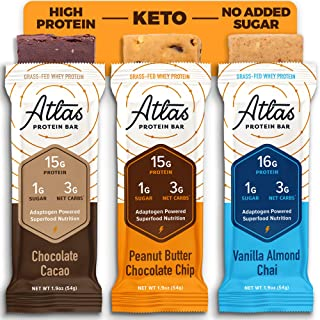 Atlas Bar - Keto Protein Bars, Classics Variety - High Protein, Low Sugar, Low Carb, Grass Fed Whey, Healthy Protein, Glut...