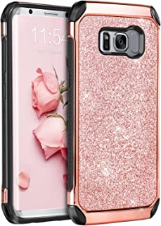 BENTOBEN Galaxy S8 Case, Glitter Sparkly Bling Shockproof 2 in 1 Hybrid Hard PC Shiny Faux Leather Protective Phone Case for Samsung Galaxy S8 2017 (5.8 Inch), Rose Gold