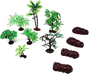 11 Piece Assorted Plastic Model Tree and Rocks Jungle Set