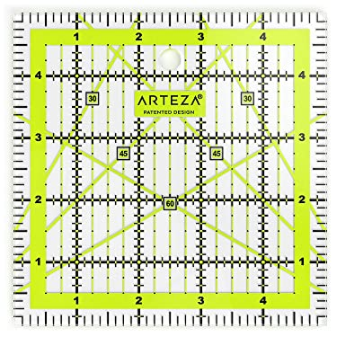 """ARTEZA Quilting Ruler, Laser Cut Acrylic Quilters' Ruler with Patented Double Colored Grid Lines for Easy Precision Cutting, 5"""" Wide x 5"""" Long for Quilting, Sewing & Crafts, Black & Lime Green"""