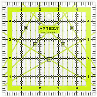 ARTEZA Quilting Ruler, Laser Cut Acrylic Quilters' Ruler with Patented Double Colored Grid Lines for Easy Precision Cutting, 5