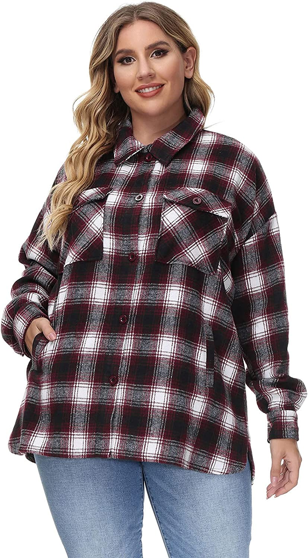 Hanna Nikole Women's Flannel Plaid Jacket Casual Oversized Wool Blend Button Down Shacket