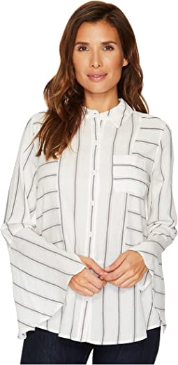 Bell Sleeve Yarn-Dye Stripe Collared Shirt