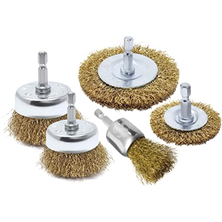 25Pcs 1//4inch Shank Brass Coated Wire Brush Wheel Set End Brush Drill Brush Cup With 5 Sizes For Drill Tool Removal of Rust//Corrosion//Paint Reduced Wire Breakage and Longer Life
