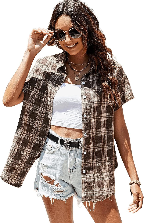 Verdusa Women's Plaid Print Short Sleeve Button Up Blouse Shirt Top