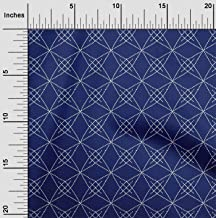 oneOone Cotton Poplin Fabric Shapes Geometric Sashiko Print Fabric BTY 42 Inch Wide