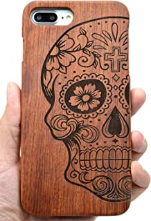 iPhone 7/8 Wooden Case, PhantomSky[Luxury Series] Premium Quality Handmade Natural Wood Cover for Your Smartphone - Rosewood Skull