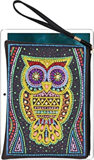 DIY Diamond Painting Ladies Purse Women's Wallet Owl Purple Lily Diamond Art Cross Stich Kits Rhinestone Clutch Purse Cross Stitch Makeup Bag Tote Bag Cosmetic Pouch Handbag for Women Girls 20x15cm