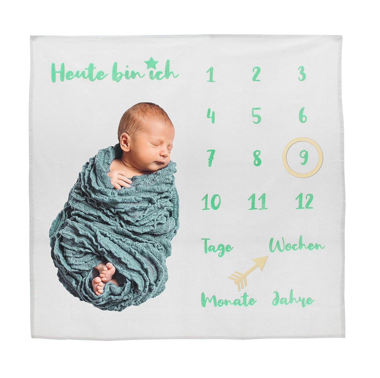 Baby aus Fleece. Teppich f/ür Monat Karte f/ür Baby personalisiertes Geschenk zur Geburt Babydecke Babyshower Monatsfotografie Geschenk zur Geburt f/ür Jungen franz/ösisch