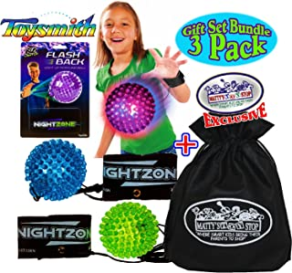 Toysmith NightZone Flash Back Light-Up Rebound Balls Blue, Green & Purple Complete Gift Set Party Bundle with Exclusive Matty's Toy Stop Storage Bag - 3 Pack
