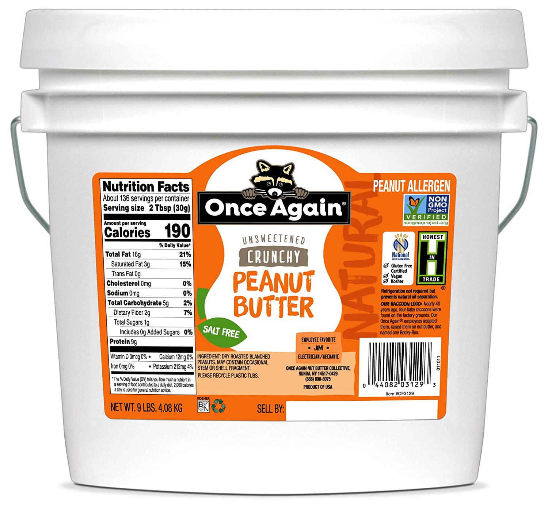Once Again Natural Crunchy Peanut wholesale Fashion Butter Bucket 9lb - Salt Fre