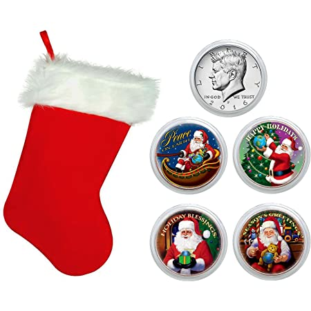Mcree 3 Pcs Christmas Coins Commemorative Coin Souvenir Coins Santa Claus Gifts Toys Gold Coins Collection in Christmas Stocking with Plastic Case