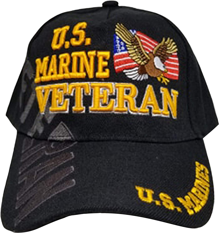 Marine Veteran Baseball Cap Black Hat Eagle Flag