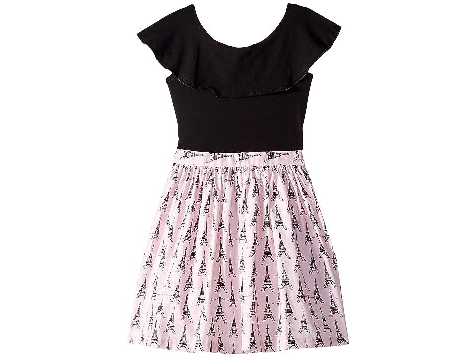 fiveloaves twofish Ruffle Collar Eiffel Tower Dress (Little Kids/Big Kids) (Black/Pink) Girl