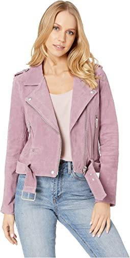 Suede Moto Jacket in Lilac