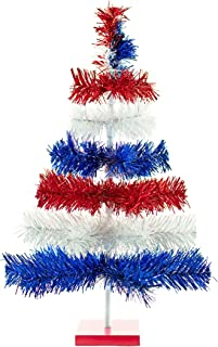 4th of July Christmas Trees Classic Tinsel Feather Style Tree Red, White, Blue Set Branches Tabletop Height Retro American Patriotic Centerpiece Display Tree Indoor Outdoor w/Wood Base Stand (36in)