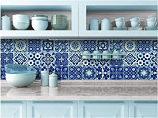 TIVA DESIGN Peel and Stick Wall Tile Sticker Art Kitchen Eclectic Set of 24 Stickers 4x4 Inches - (Royal Blue)